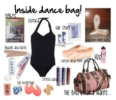 """Inside dance bag!"" by ballerinagal16 ❤ liked on Polyvore featuring Capezio, bunheads, ballet, grishko, capezio, leotard, pointe shoes, tights and ballet bag"