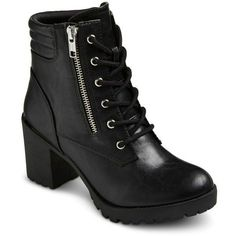 Women's Easton Chunky Heel Combat Boots ($38) ❤ liked on Polyvore featuring shoes, boots, ankle booties, thick heel boots, combat boots, army boots, combat booties and easton #ankleboots #anklebootsoutfit