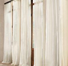 "Sheer Belgian Linen Drapery  Qty: 2  Size: 96""L x 50""W  Color: White  Style: Rod Pocket"