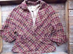 Plaid Blazer Size Medium Peplum Wool Blend Batwing Sleeve Jacket Suit Coat #Spiegel #BasicCoat