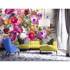 Create a positively pleasant spring nuance to your living room using the flower-patterned inspiration in great variations of interior decor ideas. Decor, Wall Decor, Interior, Wall Murals, Mural Wallpaper, Home Decor, Floral Wallpaper, Interior Design, Wall Design