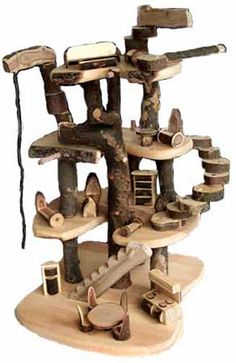 Made of cherry branches and branch blocks to assemble in endless ways . Fairy Tree Houses, Cat Tree House, Cat Furniture, Furniture Making, Cherry Furniture, Repurposed Furniture, Ideal Toys, Wooden Tree, Cat Condo