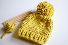 Hand Knitted Newborn Baby Beanie // Yellow Baby by StarSeventeen