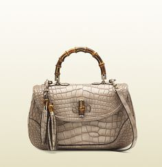 new bamboo light beige crocodile top handle bag