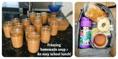 """Insulated Thermos jars make great school lunches! But....  1. Not all Thermos jars are created equal. We had two identical looking jars that (when tested) were 35 degrees different after 4 hours.   2. """"Pre-heating"""" your jars with boiling water is a waste of time!"""