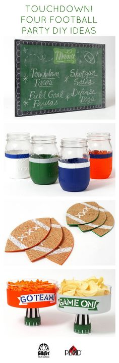 Super adorable and easy football and tailgating DIY project ideas! Football coasters, ball jar glasses, chalkboard paint menu and party bowls #plaidcrafts #folkartpaint