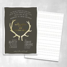 Antler Gold Foil Accent Custom Wedding by SmittenOnPaper on Etsy