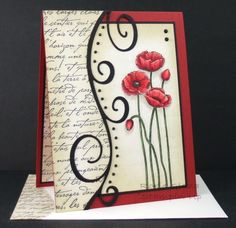 handmade card: Script and Poppies by Rox71 ... red and white with black accents ... luv the modern look of this card ... two sides separated by curving flourish and follow along its lines .. like the over-all layout ... pretty pansies ...