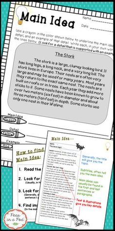Main Idea! Anchor Charts, main idea posters, graphic organizers, 10 student main idea practice passages building in difficulty, https://www.teacherspayteachers.com/Product/Main-Idea-2122542 (main idea)