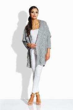 Cardigan de dama tricotat cu model decorativ,lungime medie si maneci trei sferturi. Cardigan, Duster Coat, Sweaters, Jackets, Fashion, Down Jackets, Moda, Fashion Styles, Sweater