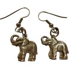 Vintage Sterling Silver Elephant Earrings Detailed African .925