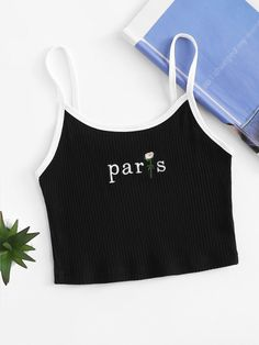 Shop Letter Embroidered Crop Cami Top at ROMWE, discover more fashion styles online. Teen Fashion Outfits, Outfits For Teens, Trendy Outfits, Cute Comfy Outfits, Cool Outfits, Cute Crop Tops, Cropped Tops, Crop Top Outfits, Aesthetic Clothes