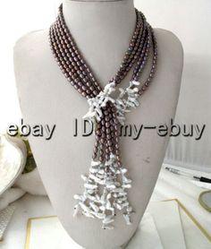 3 hebras púrpura Marrón Arroz Blanco Perla Y Arco Iris Pétalo Keshi Keishi Collar De Perlas