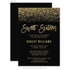 Glamorous black and gold glitter sweet 16 birthday party invitations. #GlitterParty