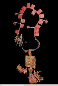 Africa | Protective Amulet Man's Necklace.  Touat (Oasis), Adrar, Algeria | Leather, silk, pigments