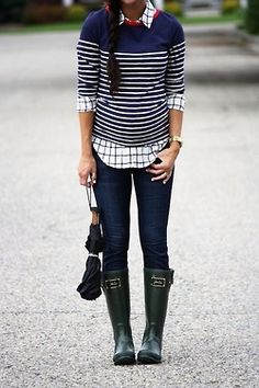 stripes + checks + rainboots