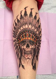 Skull with Indian headdress I like the colors