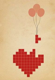 """Tetris Poster: Leave it to a heart-shaped Tetris pixel poster ($2, for an instant download) to bring on the """"aww""""s."""