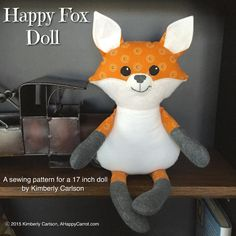 (9) Name: 'Sewing : Happy Fox Doll: soft toy doll