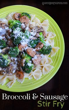 Could be easily adapted to be ww friendly. Broccoli and Sausage Stir Fry Recipe - Queen Bee Coupons & Savings Easy Pasta Recipes, Stir Fry Recipes, Entree Recipes, Asian Recipes, Dinner Recipes, Dinner Ideas, Broccoli Recipes, Veggie Recipes, Real Food Recipes