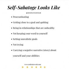 Stop 🛑 the Self sabotage Note To Self, Self Love, Mental And Emotional Health, Emotional Healing, Intuitive Healing, Self Care Activities, New Energy, Self Awareness, Angst