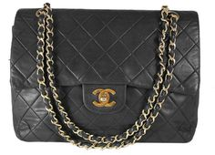 Vintage Chanel Black Quilted Lambskin Classic Medium Double Flap