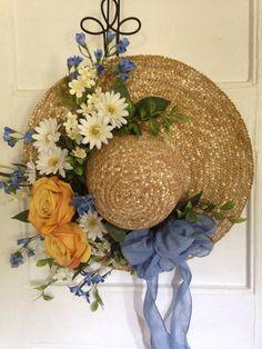Summer Straw Hat Garden Hat Wreath Alternative Front Door