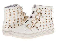 #Fashion #Shoes: Wanted Flatiron Women's Gold Studded Sneakers in White