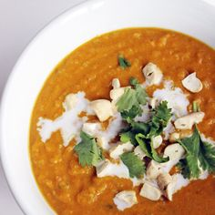 Coconut Curry Butternut Squash Soup - less coconut milk, more water/chicken broth