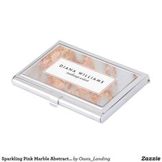 Sparkling Pink Marble Abstract Makeup Artist Business Card Case - A great gift idea, this business card case is covered in a pink and greyish white marble pattern with gold highlights. Edit the text as you like. Sold at Oasis_Landing on Zazzle.