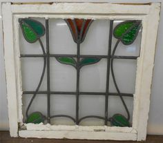 """MID SIZED OLD ENGLISH LEADED STAINED GLASS WINDOW Flower & Leaves 23.25"""" x 22"""""""