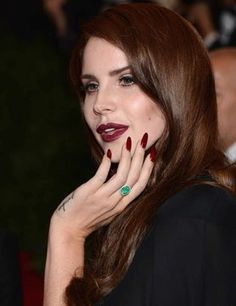 Celebrities who rock the Stiletto nails: Lana Del Rey and Adele Jessica Chastain, Jessica Alba, Camilla Belle, Stiletto Nails, Red Nails, Hair And Nails, Dark Nails, Oxblood Nails, Oval Nails
