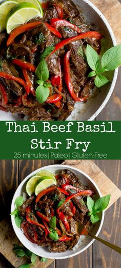 Nov 4 2019 - Thai Basil Beef Stir Fry tastes just like the one you love at your favorite Thai restaurant without the junk ingredients! Simple to make with just a handful of items one pan and less than 30 minutes. Paleo and Gluten-Free! Thai Restaurant, Restaurant Recipes, Paleo Recipes Easy, Beef Recipes, Thai Basil Recipes, Paleo Menu, Chicken Recipes, Slow Cooking, Tasty Meal