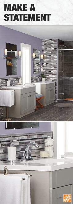 On-trend and always stylish, give your bathroom high-end style with new matching vanities. Bathroom Renos, Bathroom Renovations, Small Bathroom, Master Bathroom, Bathroom Ideas, Bathroom Stuff, Modern Bathrooms, Bath Ideas, Bathroom Designs