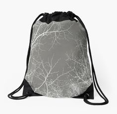 Branches Impressions I  Drawstring Bag by ARTbyJWP from Redbubble #bag #drawstringbag #backpack #buyart #artprints #gray #minimal #nature  ---     Infrared capture of bare white branches. • Also buy this artwork on stationery, apparel, stickers, and more.