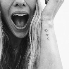 NYC Day 2 // Wellllllllll this happened ☀️✨🌙 First Tattoo by ✌🏼 A sun, a star + a moon to represent me, my mommy + my sis al… Mini Tattoos, Boho Tattoos, Little Tattoos, Star Tattoos, Cute Tattoos, Tatoos, Neck Tattoos, Dragon Tattoos, Sleeve Tattoos