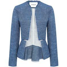 Derek Lam 10 Crosby - Notch Peplum Blazer (915 BGN) ❤ liked on Polyvore featuring outerwear, jackets, blazers, coats, blue blazer, peplum jacket, blue linen jacket, summer jackets and lightweight jackets