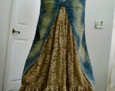 Belle Époque jean skirt creamy ruffled silk ultra by bohemienneivy
