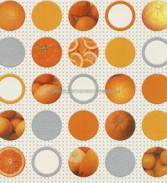 PAPEL PINTADO RASCH 828504 - AQUA DECO. Naranjas y cítricos en su papel para pared a 45,00 €. ¡¡¡Ideas para decorar cocinas con papel pintado para paredes!!!Un producto vinílico y superlavable.