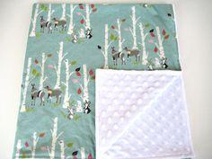 Organic woodland forest animals baby blanket by WilderAndBean