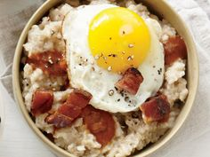 Think oatmeal has to be sweet? This porky version with red-eye gravy will change your mind. Red-eye gravy, a common sauce in Southern cooking combines the dripping from a cooked meat and black coffee. Topped with an oozy fried egg, this bowl of oats has all the greatness of your favorite breakfast sandwich, but packed inside a hearty whole grain bowl. Cook your egg to desired doneness, but we recommend sticking to sunny-side up.  View Recipe: Pancetta, Fried Egg, and Red-Eye Gravy Oatmeal