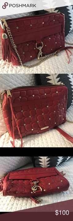 Rebecca Minkoff MAC studded in red and gold - GUC Beautiful and funky red bag with gold hardware. Condition is really good with exception of minor wear on the both upper corners. Really pretty, fun bag. This is not a mini. Rebecca Minkoff Bags Shoulder Bags