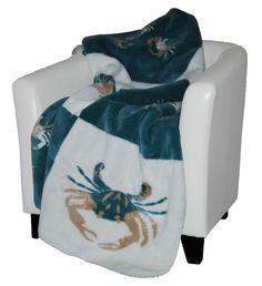 Super soft and oversized!  Great idea for cozy nights on the coast! Light Marine Sand Crabs Blocks Plush Luxury Throw