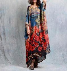 printed retro loose chiffon dress