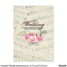"romantic Vintage musicnotes modern wedding 5"" X 7"" Invitation Card"