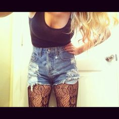 Lace tights with denim