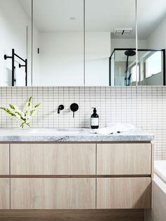 Advanced modern bathroom vanities dallas tx just on omah home design White Vanity Bathroom, Wood Bathroom, Family Bathroom, Bathroom Furniture, Modern Bathroom Vanities, White Bathrooms, Bathroom Taps, Ensuite Bathrooms, Small Bathrooms
