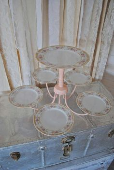 Old chandelier and beautiful plates to make a display platter :-D