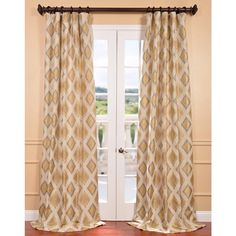 Exclusive Fabrics Dahl Multicolored Ikat Jacquard Curtain Panel (96L), Beige Off-White, Size 50 x 96 (Faux Silk, Geometric)