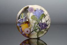Lovely floral glass bead by nimbusglasscreations on Etsy